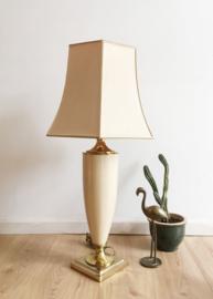Grote vintage tafellamp - Maison Le Dauphin. Exclusieve keramieken lamp met kap.