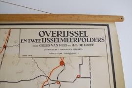 Vintage schoolplaat van Overijssel (Nederland). Oude retro landkaart