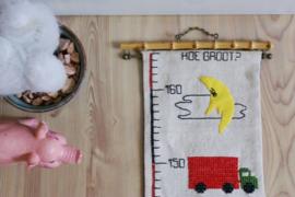 Vintage meetlat met kabouters en dieren. Retro groei meter voor aan de muur, inclusief verzending binnen NL.