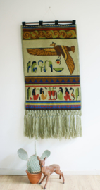 Kleurrijk handgemaakte Boho wandkleed. Unieke vintage wandversiering met oa vogel.