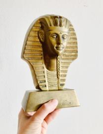 Groot vintage messing Farao beeld. Goud kleurige Egyptisch hoofd/Buste