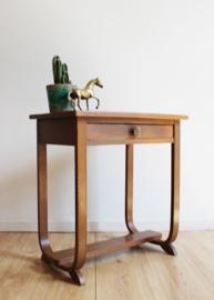 Houten Art Deco tafelmet lade. Vintage console/ plantentafel, Amsterdamse school?