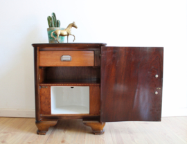 Antiek nachtkastje met keramieken binnenkant. Vintage kastje, Art Deco?