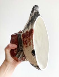 Aardewerk vintage schaal met deksel in eend vorm. Stenen vogel pot