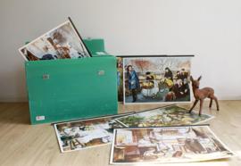 Groene vintage koffer met 18 geschiedenis schoolplaten. Retro lesmateriaal, met boekjes over de Nederlandse geschiedenis