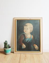 Groot 'schilderij' van een huilend zigeuner jongentje. Vintage print in houten lijst.