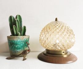 Vintage plafonnière van gebobbeld glas. Schitterende glazen plafond lamp