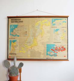 Vintage schoolplaat; Bedreigd Waterland (Nederland). Rampvloed 1953