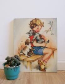 Schattig retro ministeck kunstwerkje, kind met hondjes. Vintage afbeelding op hout