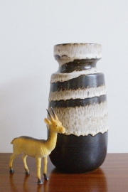 Vintage West Germany vaas, beige/bruin.  Scheurich aardewerk  retro vaas. Type 242-22