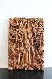 Hand gesneden houten paneel van Rama en Sita, Indonesië. Vintage kunstwerk