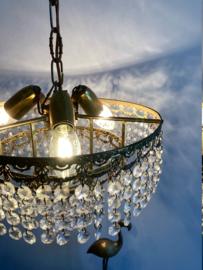 Schitterende vintage kroonluchter met pegels. Hollywood Regency hanglamp