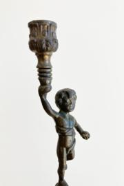 Art Deco Cupido kandelaar. Vintage blote-billetjes kandelaartje