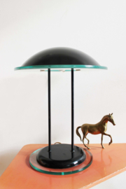 Zwarte vintage tafellamp. Spacey retro design lamp,  jaren 80