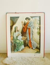 Set van 2 oude retro religie schoolplaten. Vintage afbeelding /brocante poster