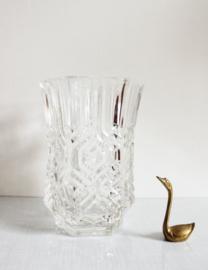 Prachtige dik glazen vintage vaas. Grote bloemenvaas van glas