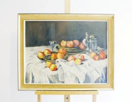 Flink olieverf schilderij op doek in lijst. Sfeervol stilleven met appels.