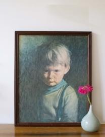 Huilend zigeunertje. Vintage print in houten lijst.