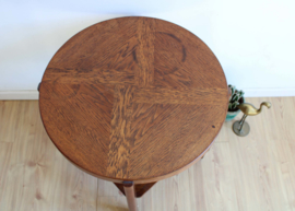 Ronde Art Deco tafel. Houten vintage salon / bijzettafel