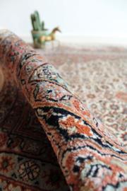 Handgeknoopt Oosters kleed met bloemen. Boho vintage tapijt - Bidjar