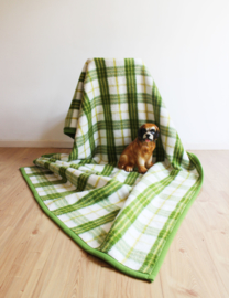 Groene wollen vintage deken met geblokt patroon. Geruiten retro sprei van AaBe