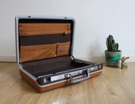 Cognac kleurige retro Samsonite koffer. Blits vintage valies/ akte tas