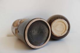 Set aardewerk vintage  vazen. Bruine retro vaas, West germany