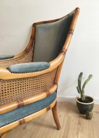 Vintage fauteuil met blauwe velvet kussens. Mid Century Boho stoel, Giorgetti?
