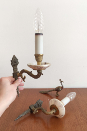 Set wandlampjes in marmer look. Twee vintage kandelaar lampjes