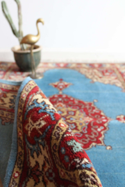 Blauw handgemaakt vintage kleed. Bohemien tapijt/ Oosters gebedskleed