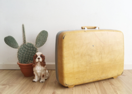 Oker gele retro Samsonite koffer. Blits vintage valies