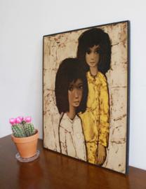 Vintage poster op hout van Jef Wauters. Super retro afbeelding van 2 meisjes