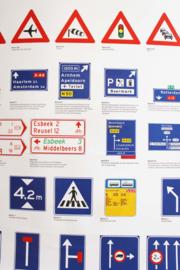 Retro schoolplaat - Verkeersborden. Vintage poster / wandkaart