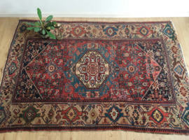 Handgemaakt vintage Oosters tapijt. Handgeknoopt vintage Perzisch kleed.
