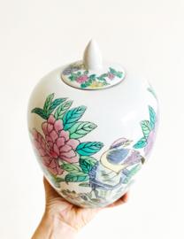 Grote vintage pot met deksel, Chinees? Aardewerk vaas, bloemen - vogels