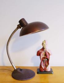 Toffe vintage bureaulamp. Bruine retro design lamp, Bauhaus stijl/SIS?