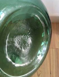 Super grote groene vaas. Glazen vintage flesvaas/ gistingsvat