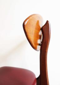 4 houten vintage eetkamerstoelen, Louis van Teeffelen for Wébé? Retro design stoelen.
