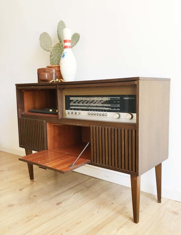 Tof Vintage Audio Radio Meubel Kekke Houten Retro Kast