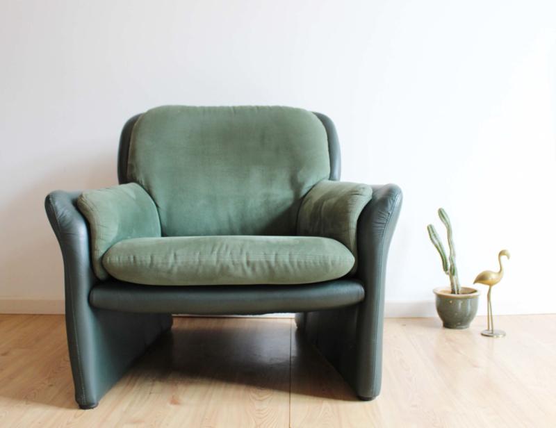 Heerlijke groene lederen vintage fauteuil. Retro design stoel, Leolux?