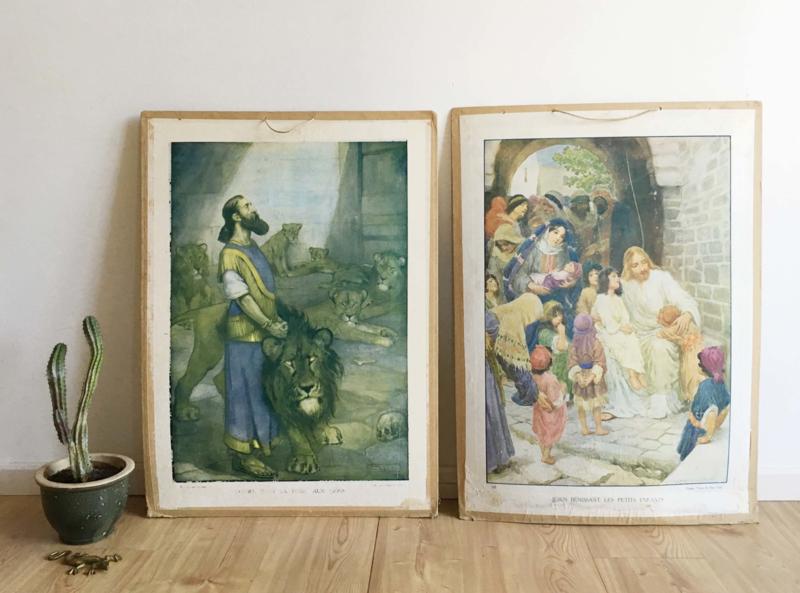 2 vintage religie schoolplaten. Oude Franse retro wandplaat / poster