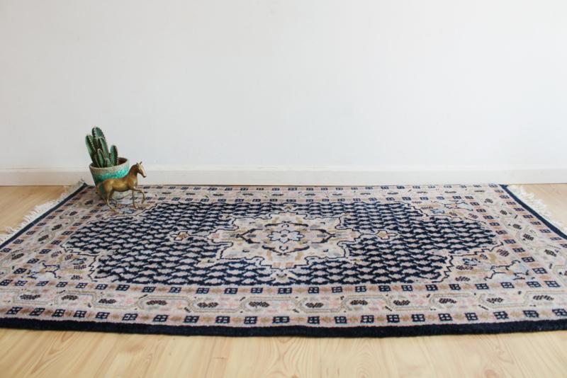 Handgemaakt vintage tapijt - Mir. Blauw / roze wollen Oosters kleed.