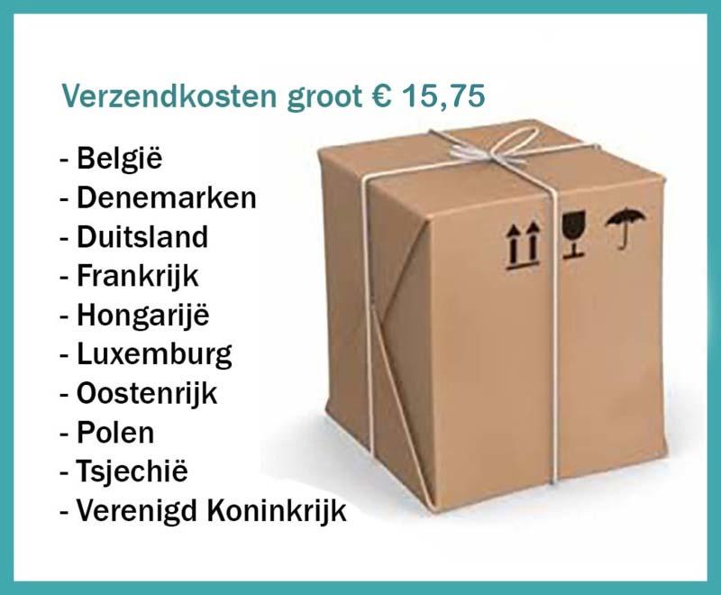 Verzendkosten groot pakket (thuisbezorgd door DPD) naar: België, Denemarken, Duitsland, Finland, Frankrijk, Luxemburg, Oostenrijk, Tsjechië, Verenigd Koninkrijk