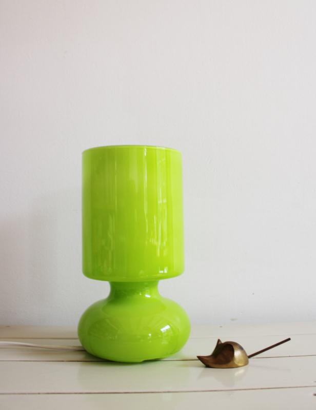 Lime groen retro tafellampje- Lykta Ikea. Glazen retro Mushroom lamp