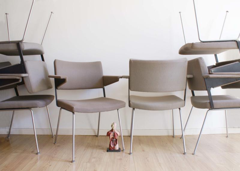 6 Design Stoelen.Set Van 6 Vintage Gispen Stoelen Retro Design Fauteuil Model