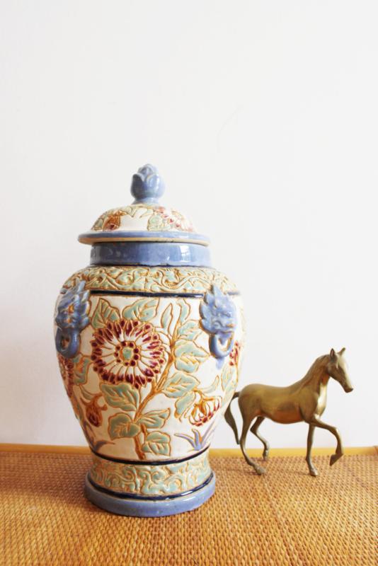 Grote aardewerk vintage pot met deksel.  Blauwe Oosterse vaas / dekselvaas