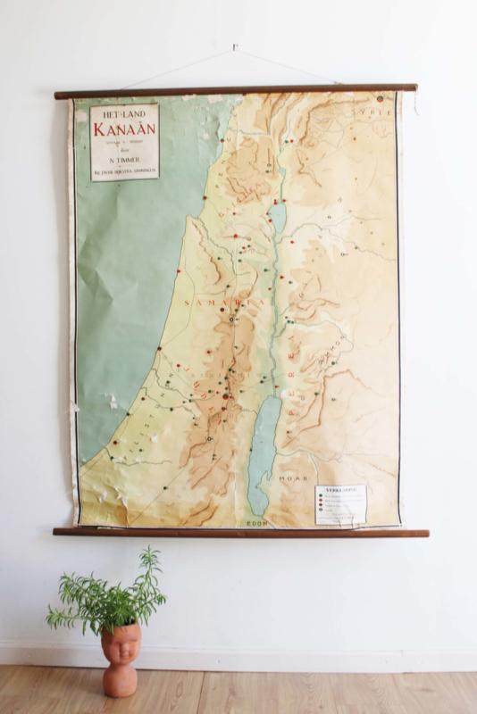 Oude retro  schoolplaat, Het beloofde land  Kanaän. Vintage landkaart/Israel
