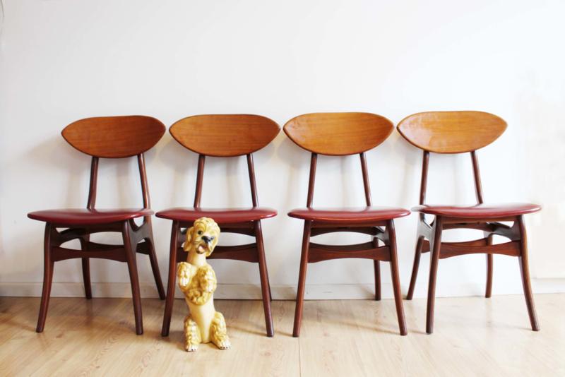 Eetkamerstoelen Design Stoelen.4 Houten Vintage Eetkamerstoelen Louis Van Teeffelen For Webe