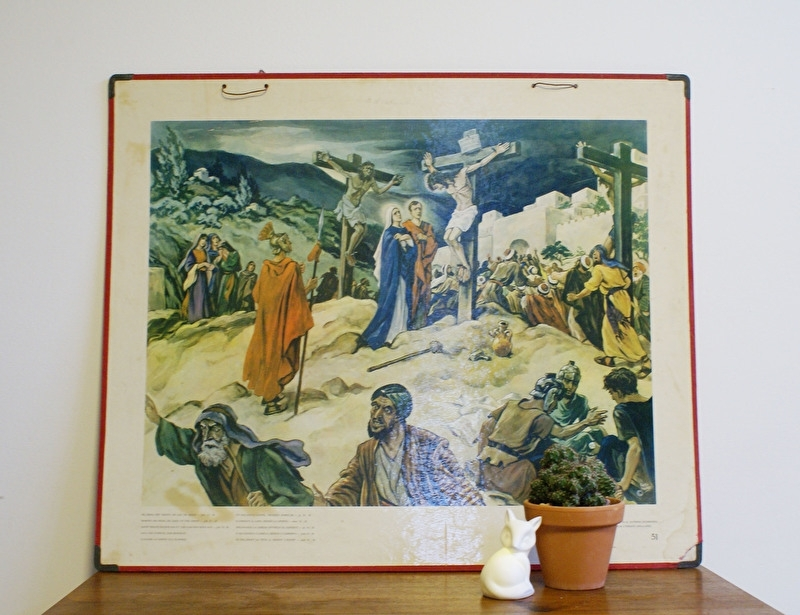 De kruisdood: Oude retro religieuze schoolplaat. Vintage/brocante kaart/plaat