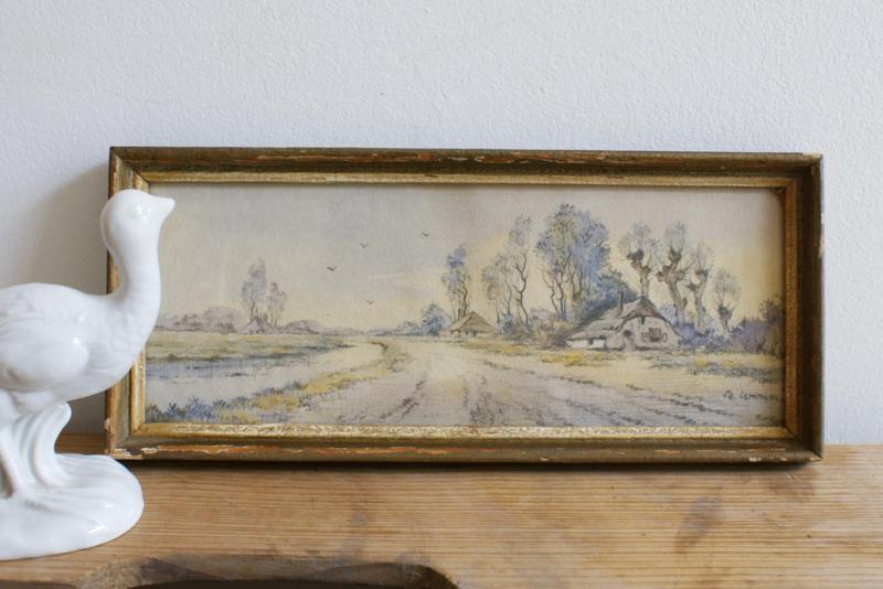 Piepklein tekeningetje van een Hollands landschap in vintage lijst